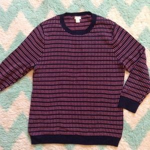 J CREW navy and coral pullover sweater M L